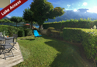 La BAIE DES VOILES : high standing residence facing the lake, garden floor. 1 bed. apartment